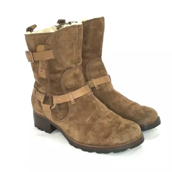 117fe2df36b UGG Harness Brown Suede Women Biker Boots Size 8.5
